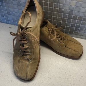 Also Tan Suede Bowling Flats